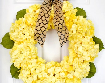 Yellow Hydrangea Wreath | Front Door Wreath | Spring Wreath | Summer Wreath | Large Wreath | Housewarming Gift
