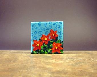 Refrigerator Magnet, Kitchen Magnet, Fridge Magnet, Kitchen Art, Red Flower Magnet, Flower Art, Small Painting on Canvas
