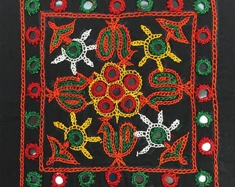 Mirror work embroidery with floral design from Rabari Tribe, Kutch.