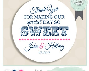 "personalized wedding label. Comes in Color of Choice. Size 2"" Round. THANK YOU. Hillary Collection in Navy and Pink. custom favor sticker"
