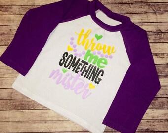 Mardi Gras Throw Me Something Mister Purple Raglan - 6 months - 4