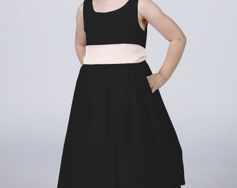 Pure Black Flowergirl Dress with Complimentary Sash available in all colours by Matchimony