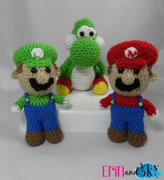 Mini Mario, Luigi, and Yoshi - READY TO SHIP - Plush Crochet Amigurumi Dolls - Classic Video Game Action Figure - Geek Gamer Gift