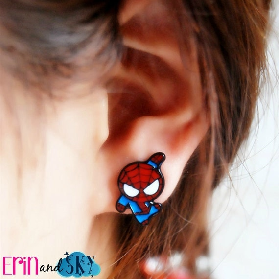 Kawaii Spiderman Earrings - FREE SHIPPING - Marvel Superhero Jewelry - Geeky Comic Book Gift - Comics Jewelry - Super Hero Earrings