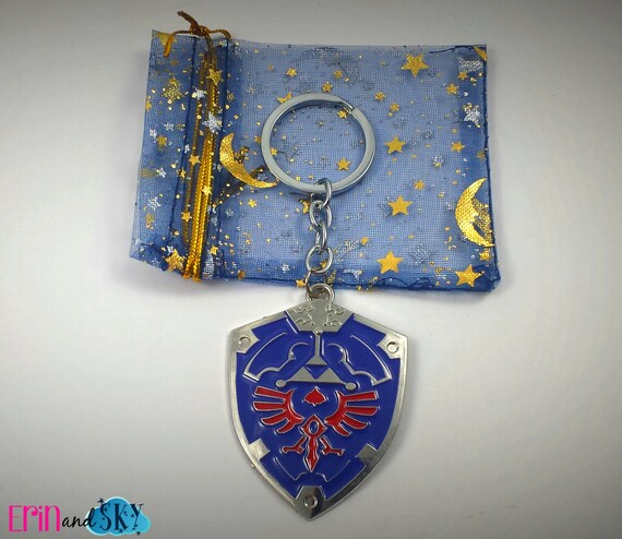 Hylian Shield Keychain - FREE SHIPPING - The Legend of Zelda Inspired Keyring - Video Game Nintendo Gift - Geeky Gamer Gear - Triforce Gift