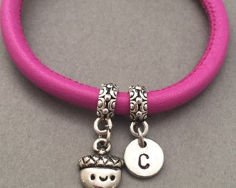 Acorn leather bracelet, acorn charm bracelet, leather bangle, personalized bracelet, initial bracelet, monogram
