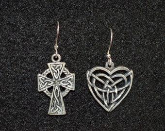 Celtic Heart & Cross silver fish hook earrings OOAK