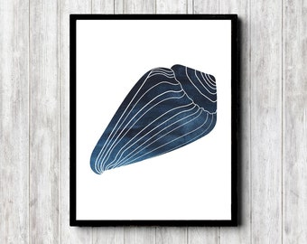 Watercolor Sea Shell Printable Wall Decor - Seashell Poster - Office Wall Art - Dark Blue Art Poster - Beach / Sea Theme Art Print - 8 x 10