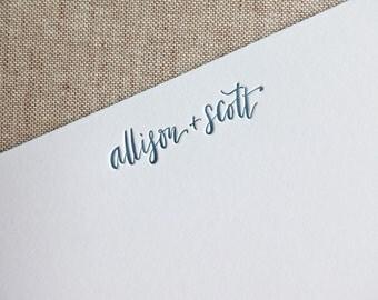 Custom Calligraphy Letterpress Stationery | Personalized Letterpress Stationery