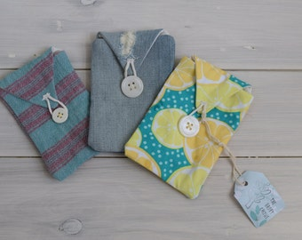 Cute handmade phone case pouch in denim/ stripes/ lemons - fully lined button pouch case for iPhone 4 & 5, android, Samsung