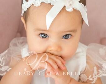 Ivory Lace Baby Headband 'Scarlett', Christening Headband