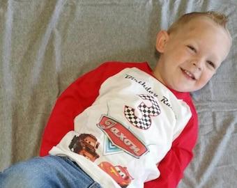 Disney Cars Birthday Shirt - Boys Raglan Shirt Available