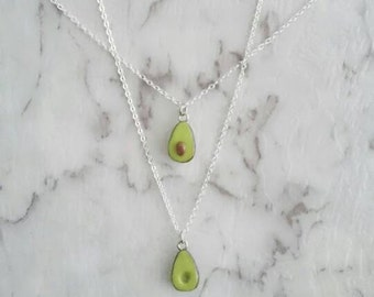 Avocado friendship necklace. Silver chain friendship necklace set.