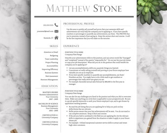 professional resume template for word pages one two and three page resume template professional cv template instant download resume
