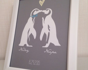 Penguin Personalized Wedding Decor or Gift - Framed 8x10 Customized Print || Perfect for Engagements, Weddings, Bridal Showers & Anniversary