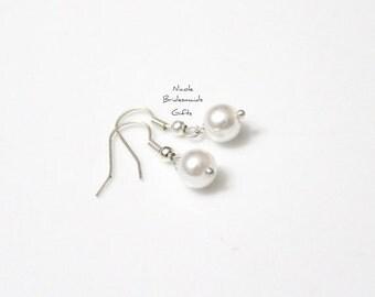 Pearl Earrings, Bridesmaid Earrings, Pearl Drop Earrings, Swarovski Pearl Earrings, Pearls in Sterling Silver, 8 mm Pearls