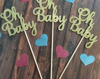 Baby Shower Decorations, Oh Baby Centerpiece Sticks, Oh Baby Floral Decor, Baby Centerpieces, Gold Baby Shower Decorations, Oh Baby (Qty. 3)