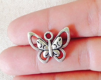 10 Butterfly Charms, Antique Silver Tone Charms, 2 Sided, BRU 061