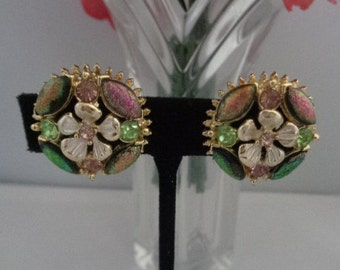 30% off w/Coupon Florenza Multi Colored Rhinestone Round Earrings Set in Goldtone and Signed! Zoom In These are GORGEOUS!
