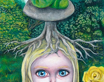 Alice in Wonderland original Giclee ACEO, ATC art print. pop surrealism, lowbrow fantasy art.