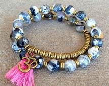 Double Wrap Om Bead Bracelet, om bracelet, ohm bracelet, pink tassel, tassel bracelet