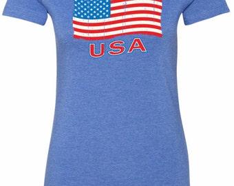 Distressed USA Flag Ladies Longer Length Tee T-Shirt XIT-11515-6004