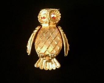 Vintage Gold and Aurora Borealis Eyes Brooch               VG2325