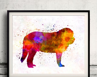 Spanish Mastiff 01 in watercolor - Fine Art Print Poster Decor Home Watercolor Illustration Dog - SKU 2239
