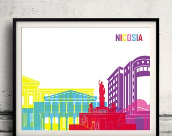 Nicosia pop art skyline 8x10 in. to 12x16 in. Fine Art Print Glicee Poster Gift Illustration Pop Art Colorful Landmarks - SKU 1035