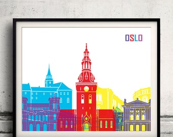 Oslo pop art skyline 8x10 in. to 12x16 in. Fine Art Print Glicee Poster Gift Illustration Pop Art Colorful Landmarks - SKU 1157