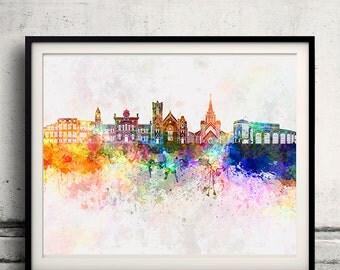 Brampton skyline in watercolor background - Poster Digital Wall art Illustration Print Art Decorative - SKU 1401