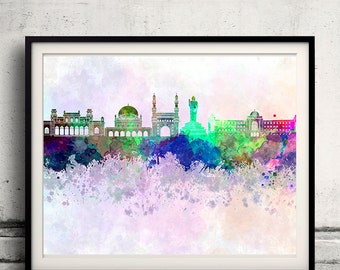 Hyderabad skyline in watercolor background - Poster Digital Wall art Illustration Print Art Decorative - SKU 1408