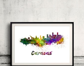 Caracas skyline in watercolor over white background with name of city - Poster Wall art Illustration Print - SKU 1464
