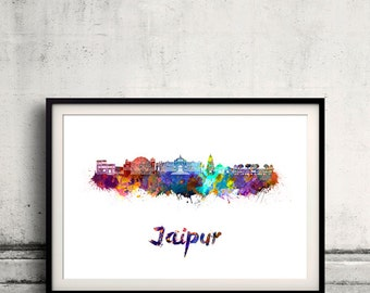 Jaipur skyline in watercolor over white background with name of city - Poster Wall art Illustration Print - SKU 1658
