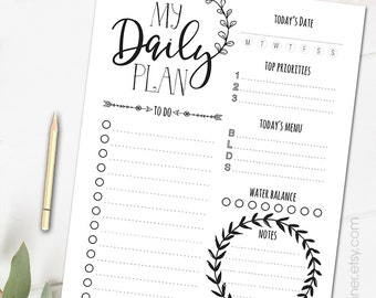 Printable tribal  planner pages, Black and white planner inserts, daily organizer, To do list, daily schedule, letter size agenda