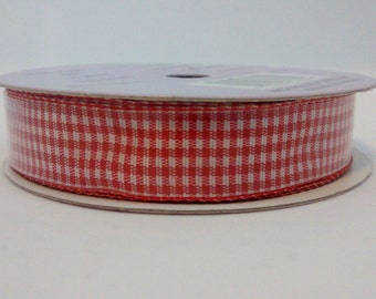White and red checker ribbon 4 yards destash hair clip centre ribbon decorative ribbon country home collection