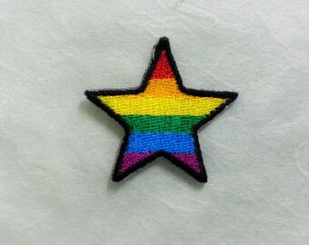 Rainbow Star Iron on Patch - Rainbow Star Applique Embroidered Iron on Patch (3.4x3.3 cm)