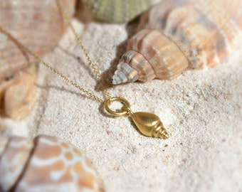 Nature Gold Necklace Solid 18k Gold Necklace Gold Beach Necklace Shell Sea Necklace Dainty Gold Necklace Gold Life Necklace Mermaid Necklace