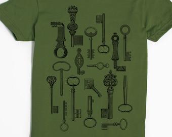 Skeleton Key Shirt - Vintage Keys - Graphic Tees for Women - Key T-shirt - American Apparel - Slothwing Tees