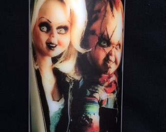 Chucky And Tiffany White Unscented Pillar Candle
