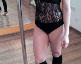 Openwork black bodysuit for dancing, photosessions