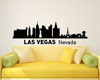 Las Vegas Skyline Wall Decal City Silhouette Las Vegas Nevada City Scape Wall Decals Murals Living Room Office Bedroom Wall Art Decor C008