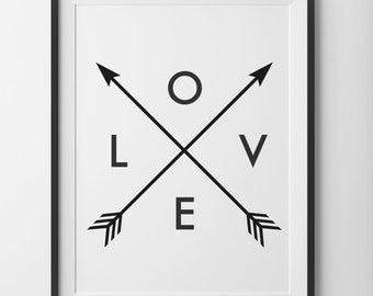 Black and White Love Arrow Print, Love Black and White Print, Minimal Love Arrow Home Print Wall Art, Love Print With Arrows Digital Print