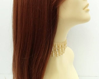 Long 21 inch Mixed Natural Auburn Lace Front Wig with Bangs and Premium Heat Resistant Fiber. [37-208-Sonya-M33/130]