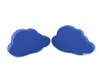 Blue dresser drawer handles, Wooden drawer knobs, Furniture knobs and pulls, Kids blue cloud knobs,  Cloud nursery decor, Cloud decorations