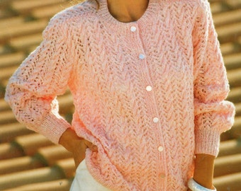 Vintage Knitting Pattern - Ladies Lacy Cardigan - 30 to 40 inches - DK yarn