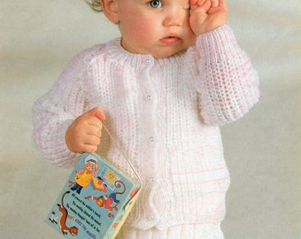 Toddler Knitting Pattern - Cardigan and Skirt Set - 20 to 24 inches - DK yarn