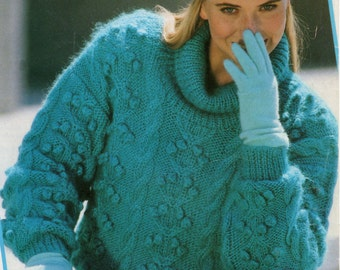 "Ladies Knitting Pattern - Roll Neck Sweater - Bobble Knit Pattern - 32 to 42 """