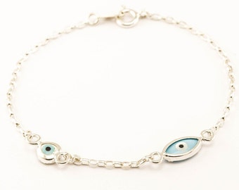 Evil eye bracelet,Silver Protection Bracelet,Sterling Silver Heart Bracelet Jewelry,Silver Love Bracelet For Women,Gift For Her