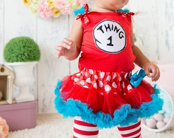 baby thing 1 or thing 2 pettiskirt set with matching headband halloween costume size 3 - Thing 1 Thing 2 Halloween Costume